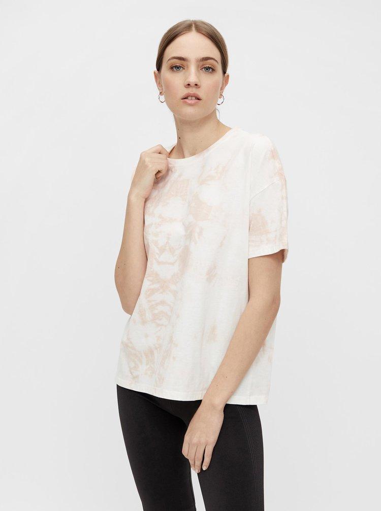 Ružovo-biele batikované tričko Pieces Panni