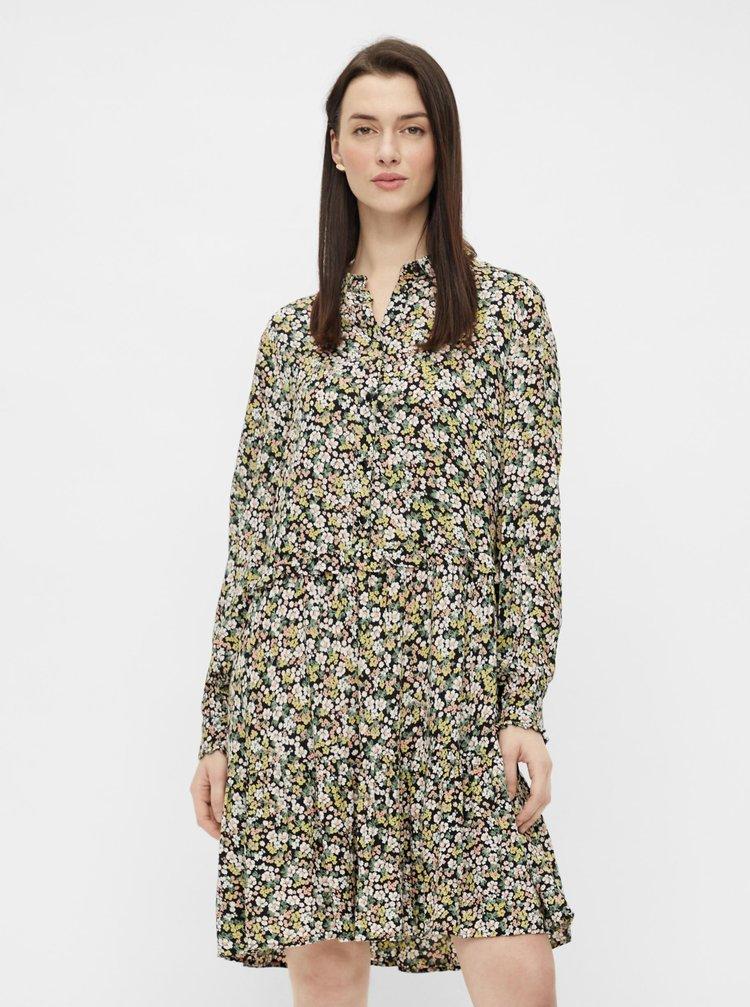 Zeleno-čierne kvetované košeľové šaty Pieces