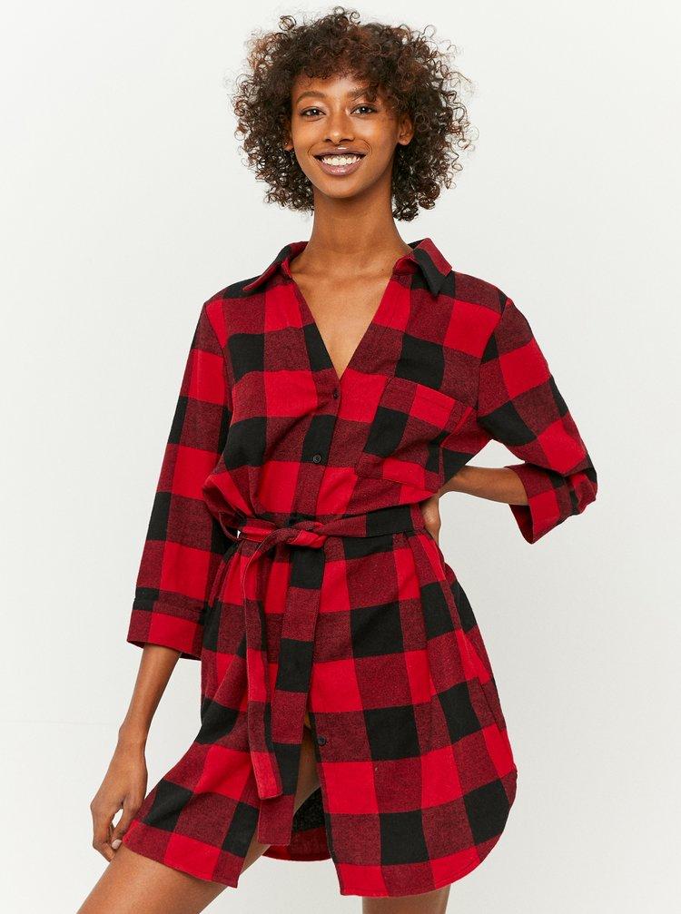 Červené kockované košeľové šaty TALLY WEiJL
