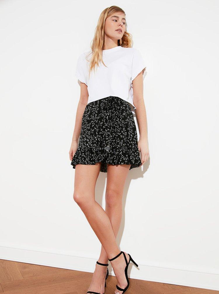 Černá květovaná sukně Trendyol