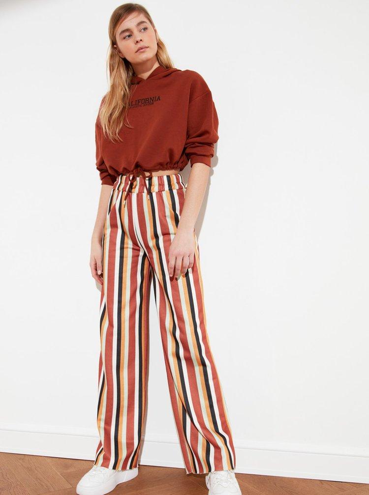 Žluto-hnědé pruhované široké kalhoty Trendyol