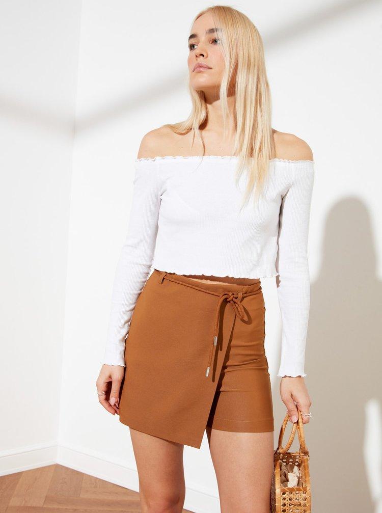 Hnedá sukňa so zaväzovaním Trendyol