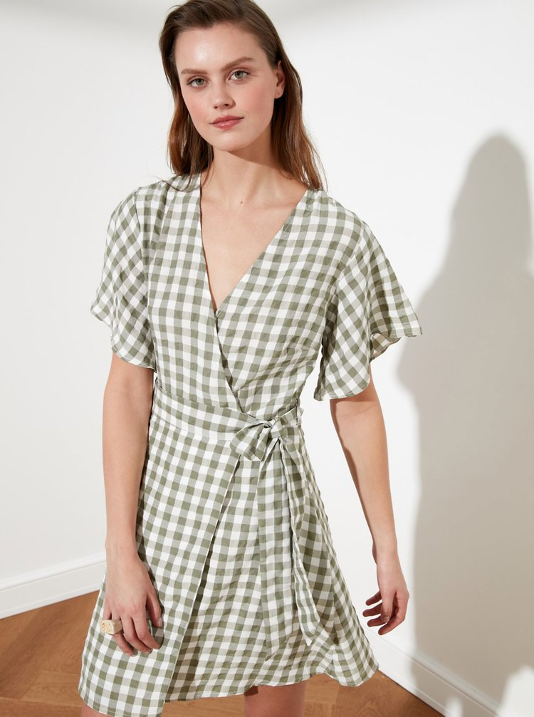 Béžové kostkované zavinovací šaty Trendyol