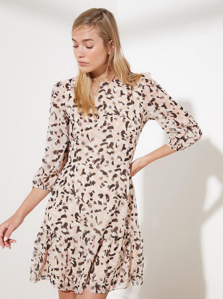 Béžové vzorované šaty Trendyol