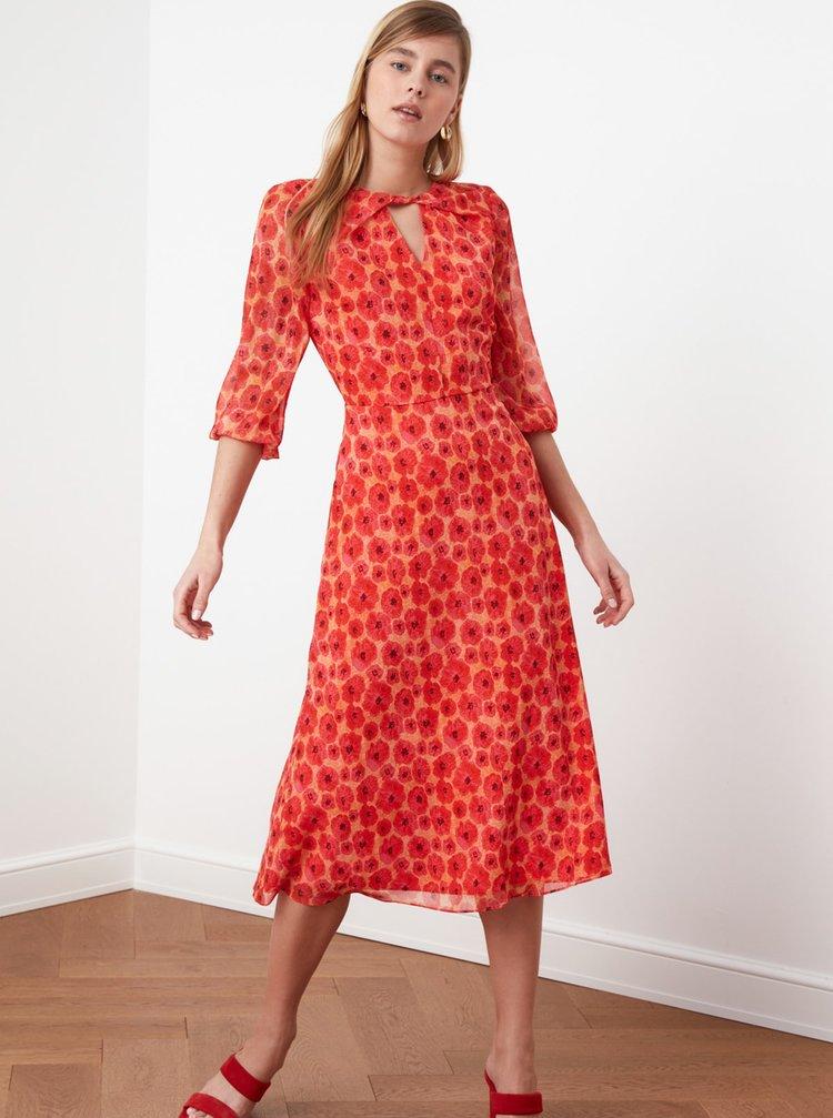 Červené kvetované midišaty Trendyol