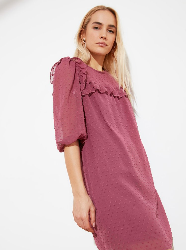 Fialové vzorované šaty s volány Trendyol
