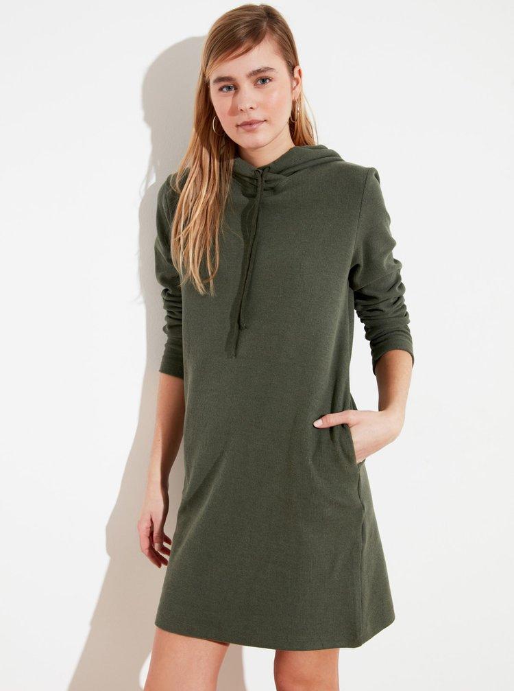 Khaki mikinové šaty s kapucí Trendyol