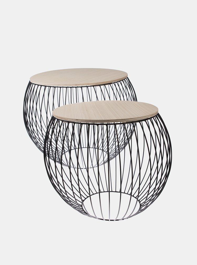 Sada dvou odkládacích stolků v černé barvě Dakls