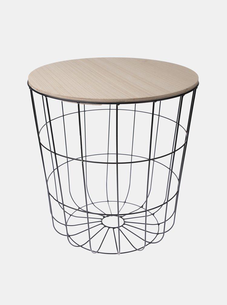 Hnědo-černý odkládací stolek Dakls