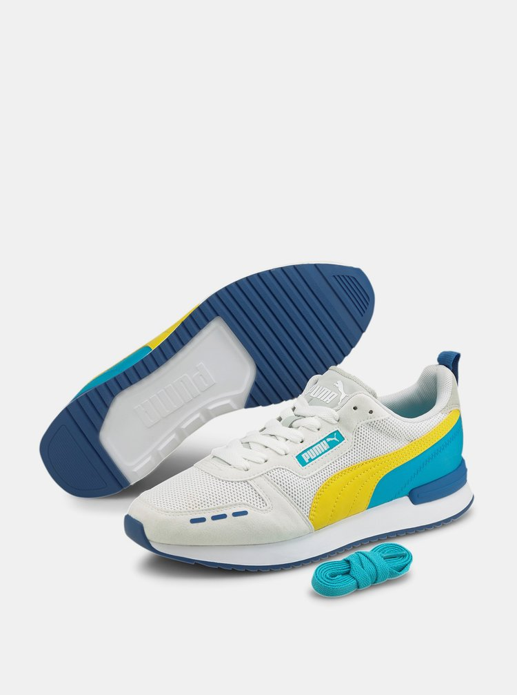 Modro-bílé tenisky se semišovými detaily Puma