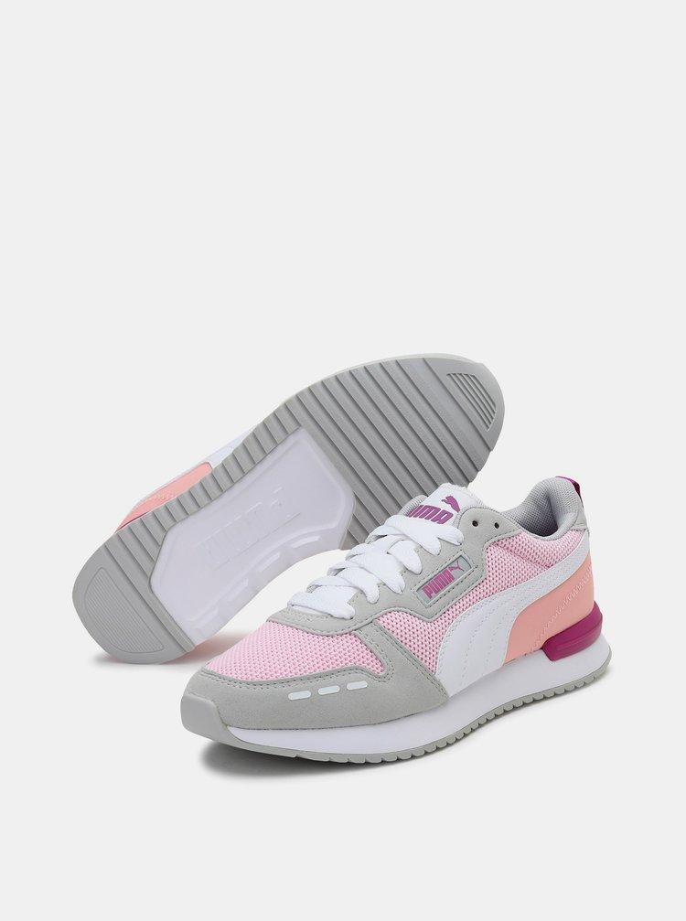 Růžovo-šedé dámské tenisky se semišovými detaily Puma