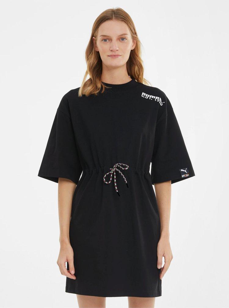 Čierne voľné šaty so zaväzovaním Puma