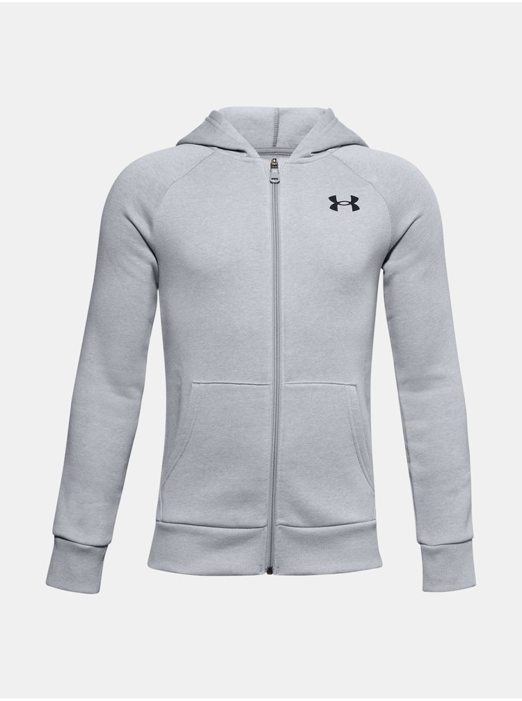 Mikina Under Armour UA RIVAL COTTON FZ HOODIE - šedá