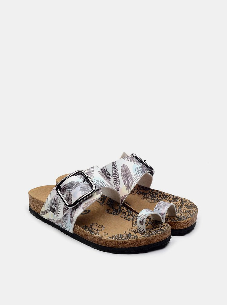 Calceo bílé pantofle Thong Sandals Feather