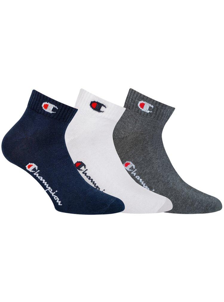 CHAMPION ANKLE SOCKS LEGACY 3x - Sportovní kotníkové ponožky 3 páry - tmavě modrá - bílá - tmavě šedá