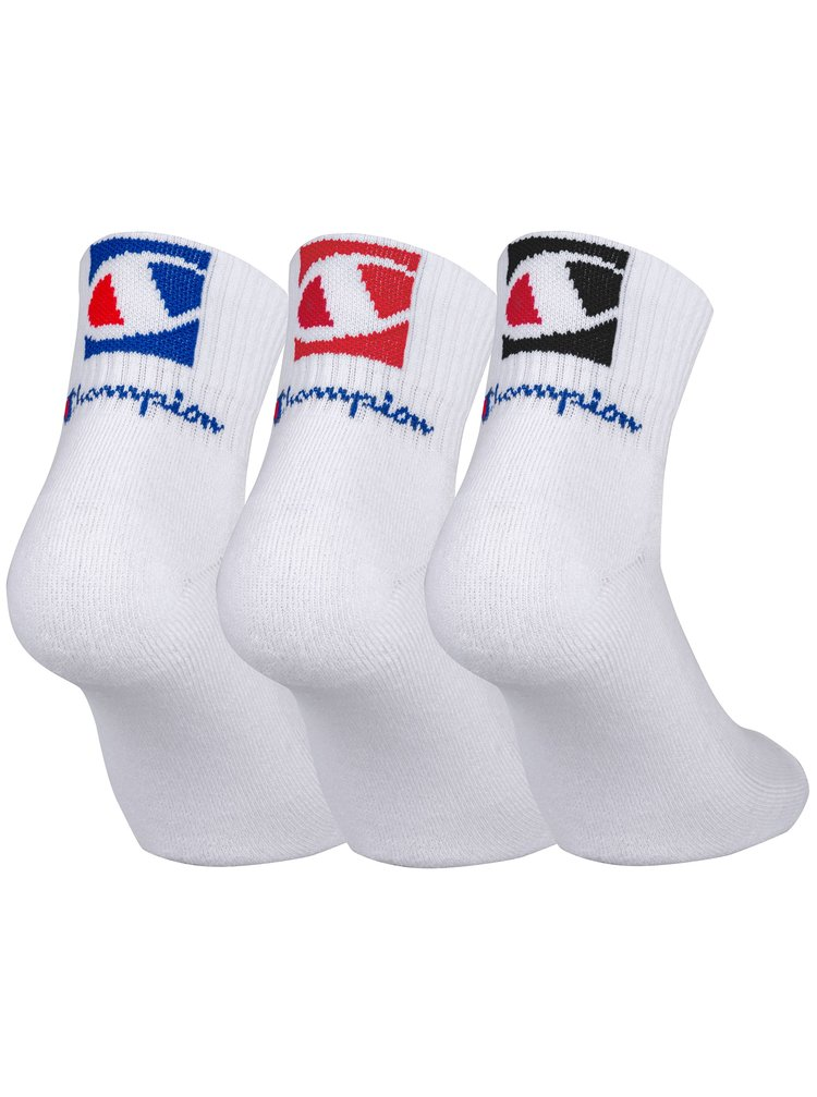 CHAMPION ANCLE SOCKS FASHION 2 LOGOS 3x - Kotníkové ponožky se dvěma logy 3 páry - bílá