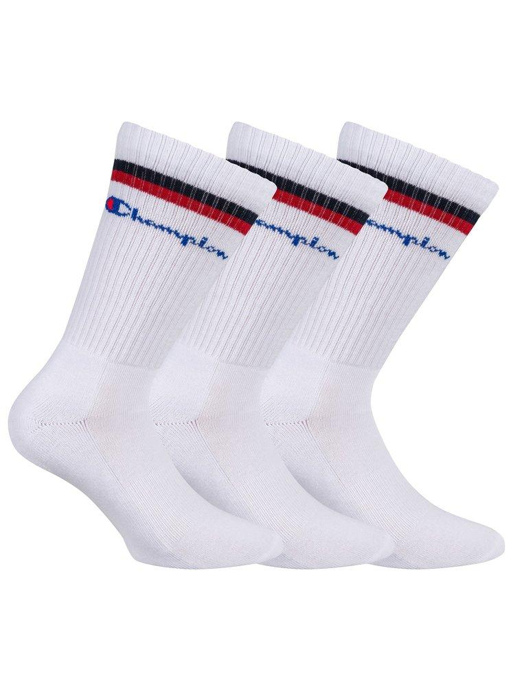 CHAMPION CREW SOCKS FASHION STRIPES 3x - Sportovní ponožky 3 páry - bílá - červená - černá