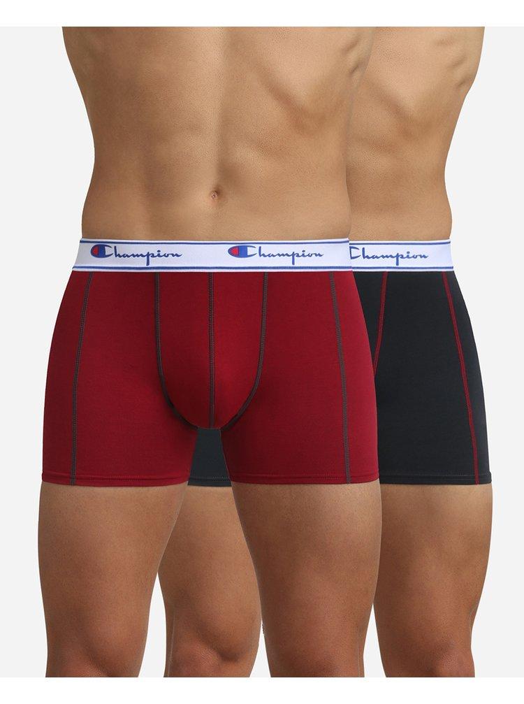 BOXER CHAMPION LEGACY PLAIN 2x - 2 ks pánských boxerek s logem Champion na pásku - černá - tmavě červená
