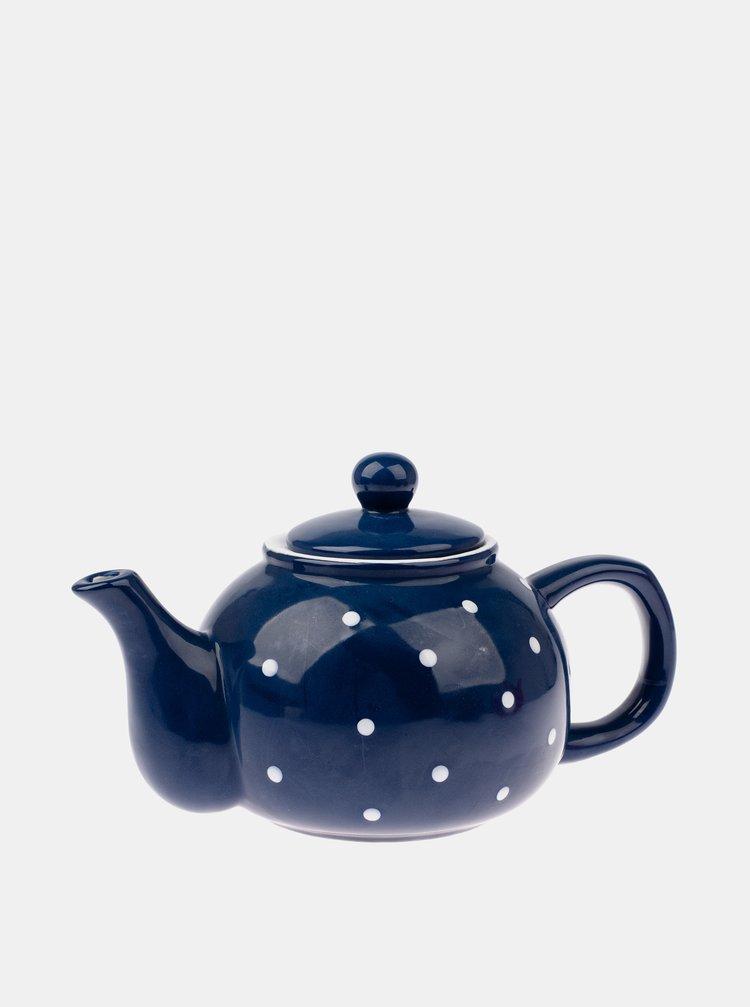 Tmavě modrá puntíkovaná konvička na čaj Dakls