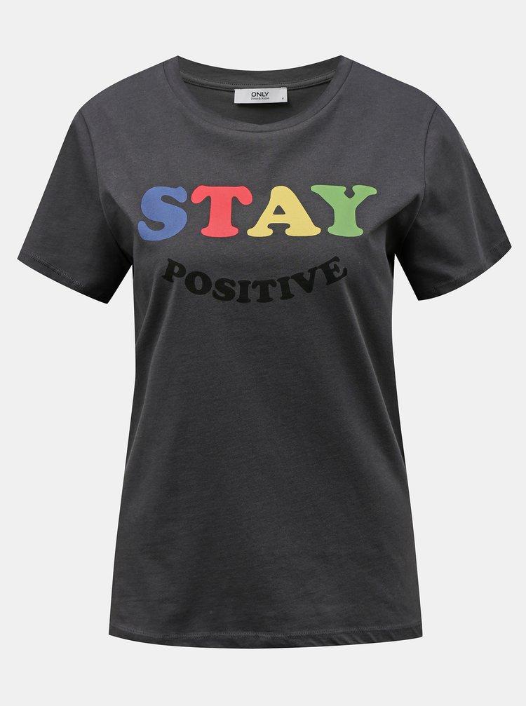 Tmavošedé tričko s potlačou ONLY Happy