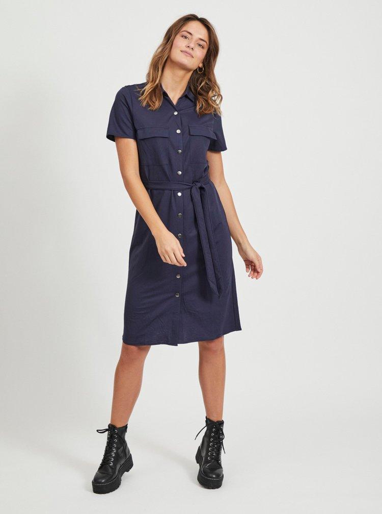 Tmavě modré košilové šaty se zavazováním VILA Safina