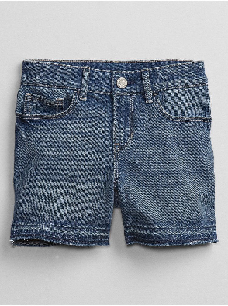 Modré holčičí dětské džínové kraťasy v-d midi med bas