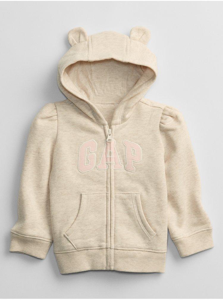 Béžová holčičí baby mikina GAP Logo v-g fz