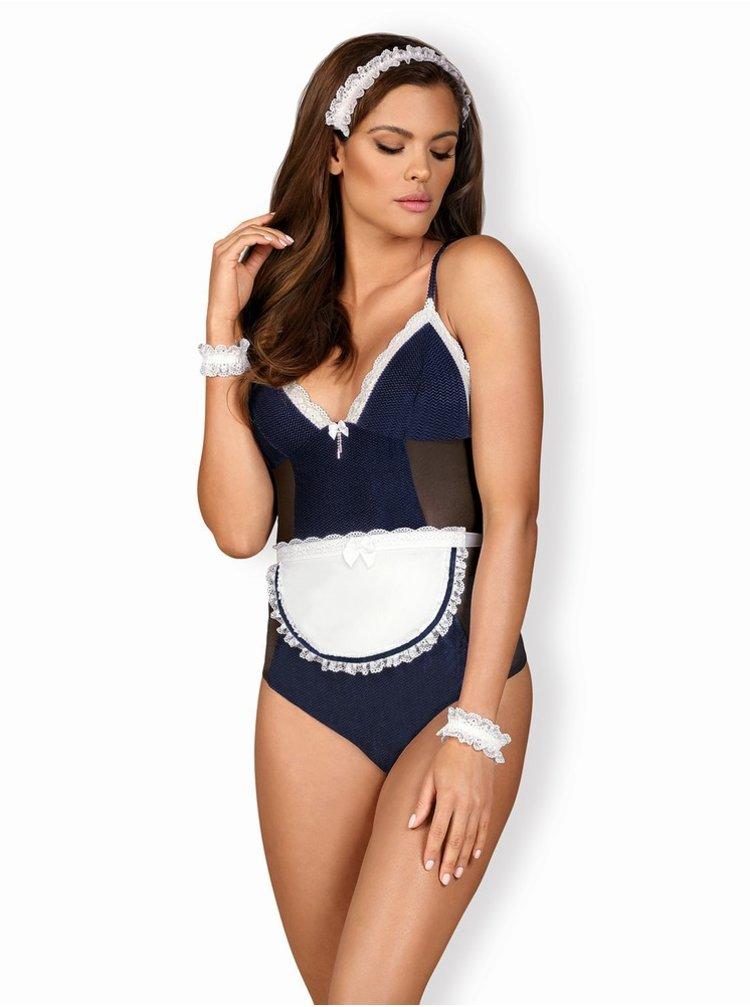 Pikantní kostým Maid teddy blue - Obsessive modrá
