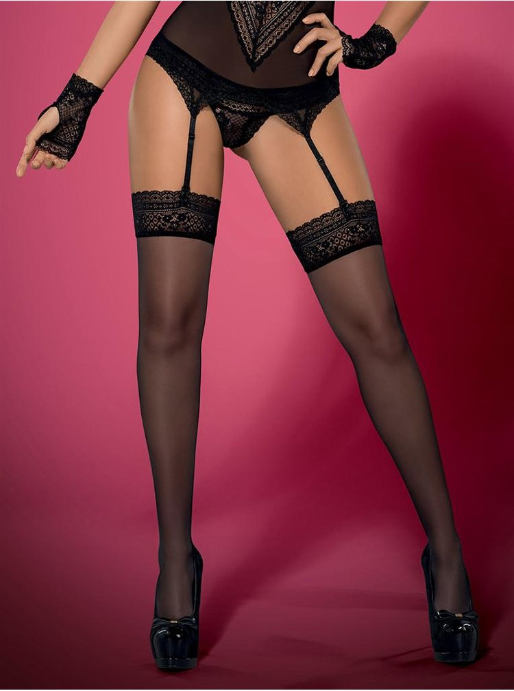 Punčochy Picantina stockings XXL - Obsessive černá
