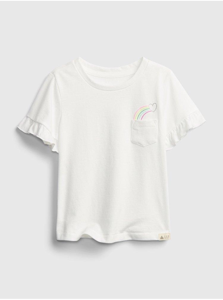Bílé holčičí dětské tričko ruffle ss ptf pocket t 2