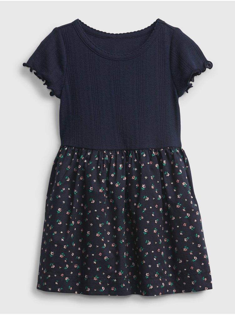 Modré holčičí dětské šaty pointelle k2w