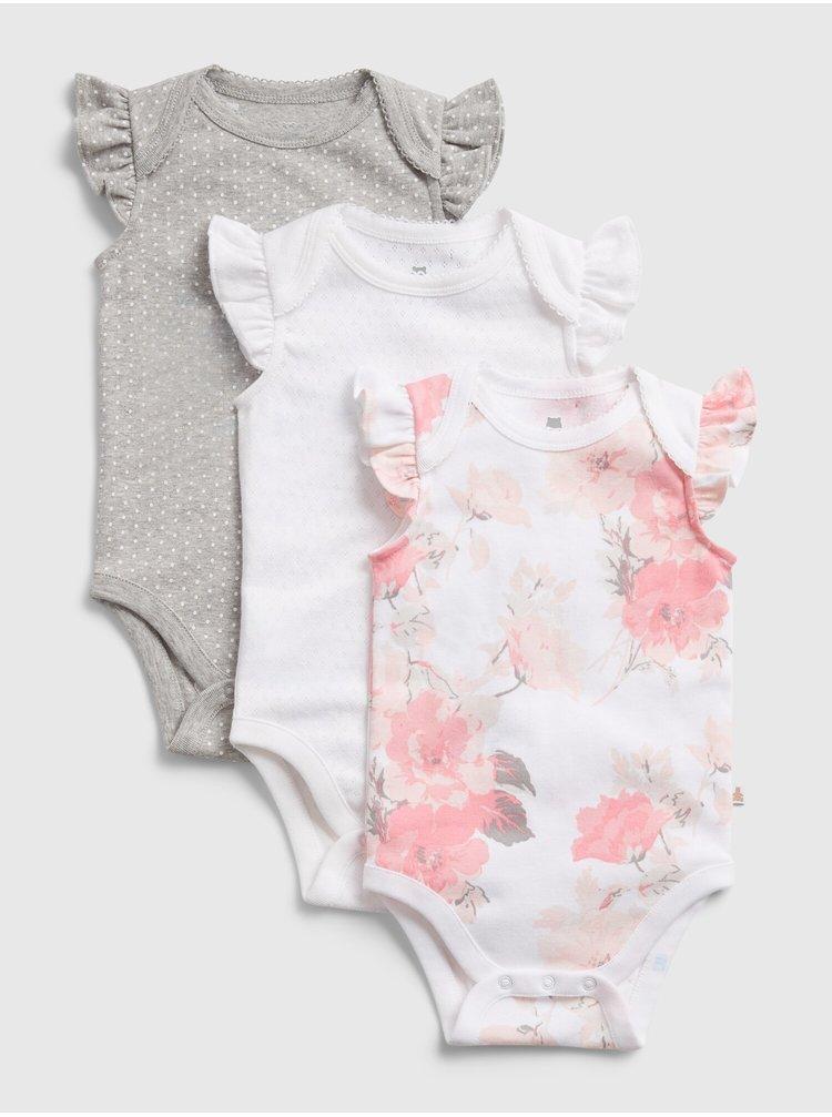 Bílé holčičí baby body floral bs, 3ks