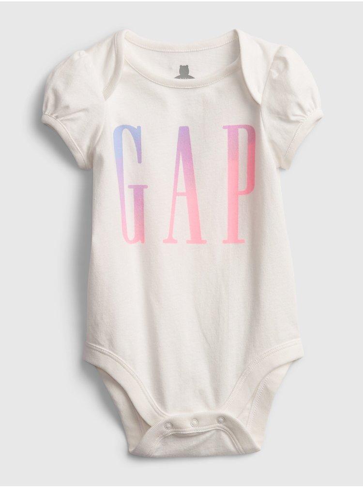 Bílé holčičí baby body GAP Logo ss arch bs