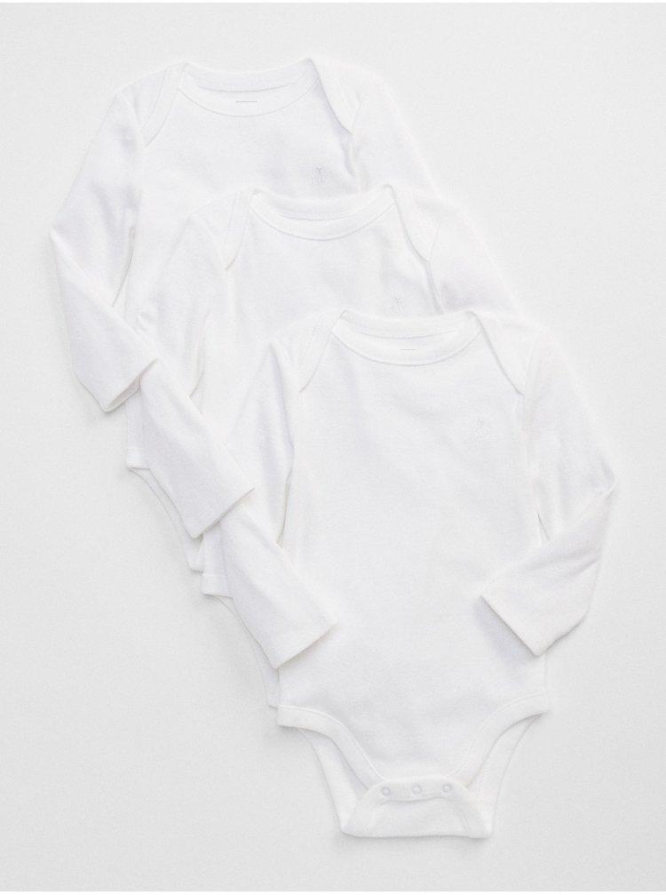Bílé holčičí baby body first favorite long sleeve bodysuit, 3ks