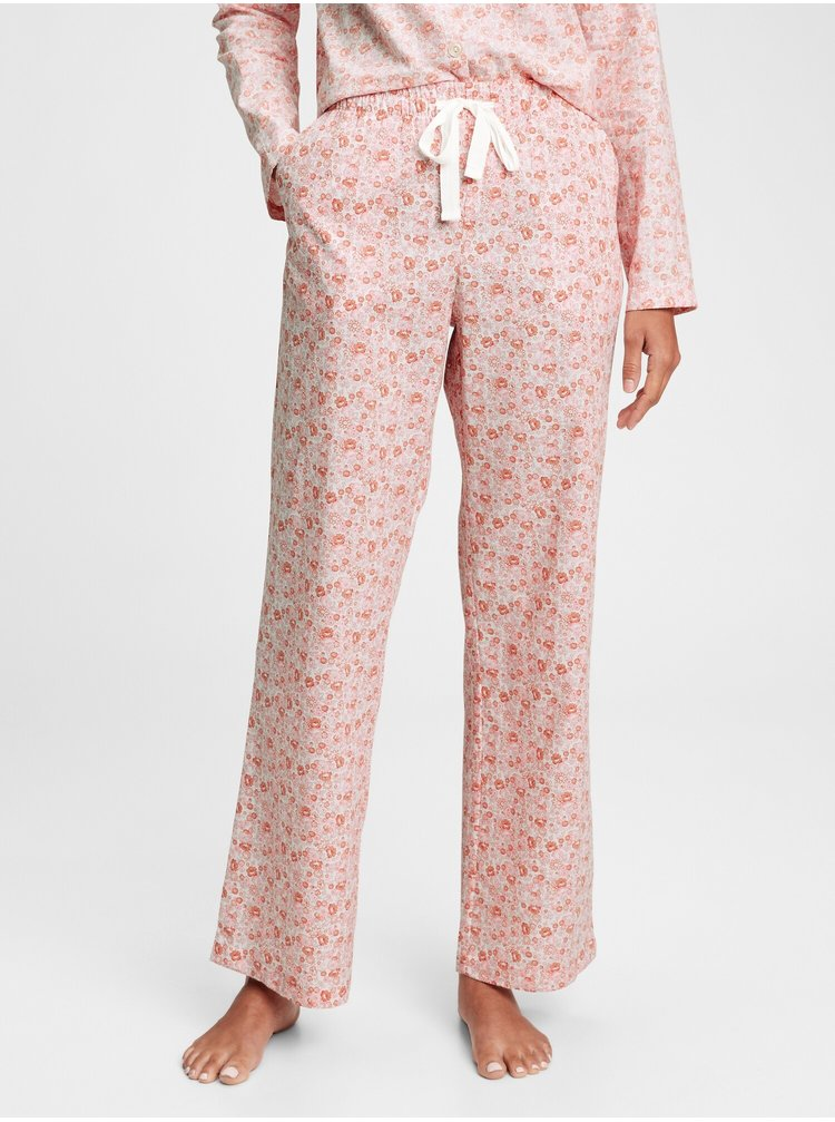 Růžové dámské pyžamové kalhoty poplin pajama pants
