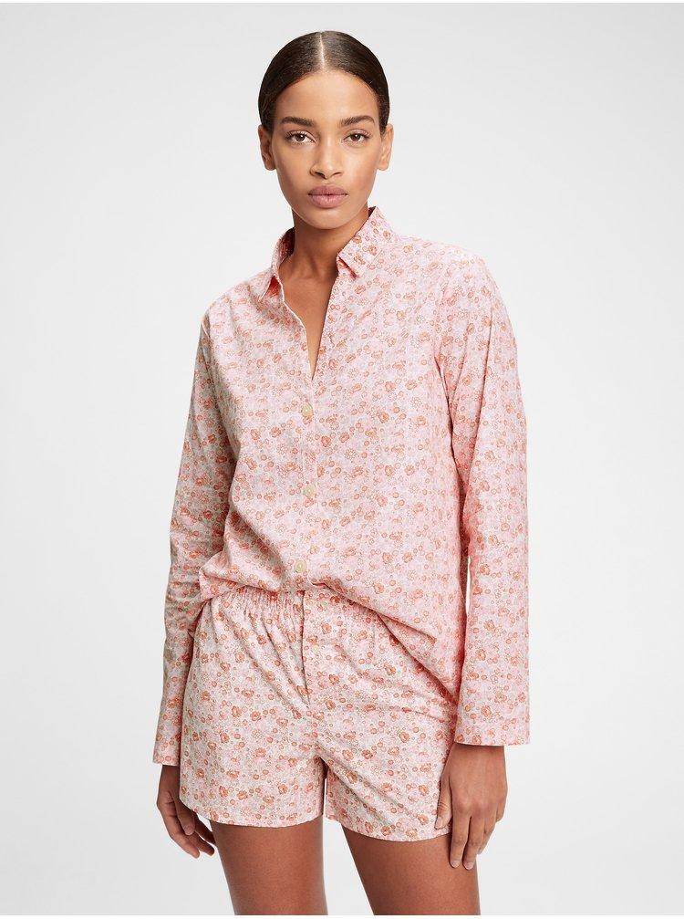 Růžová dámská košile na spaní pajama in poplin