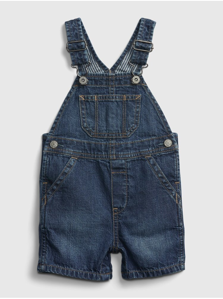 Modré klučičí baby džíny s laclem dnm spr shorta medmwash 0-3m