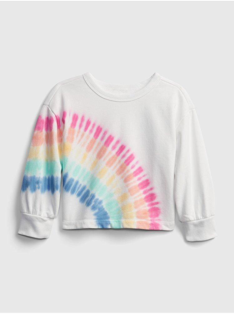 Bílá holčičí dětská mikina rainbow tie dy
