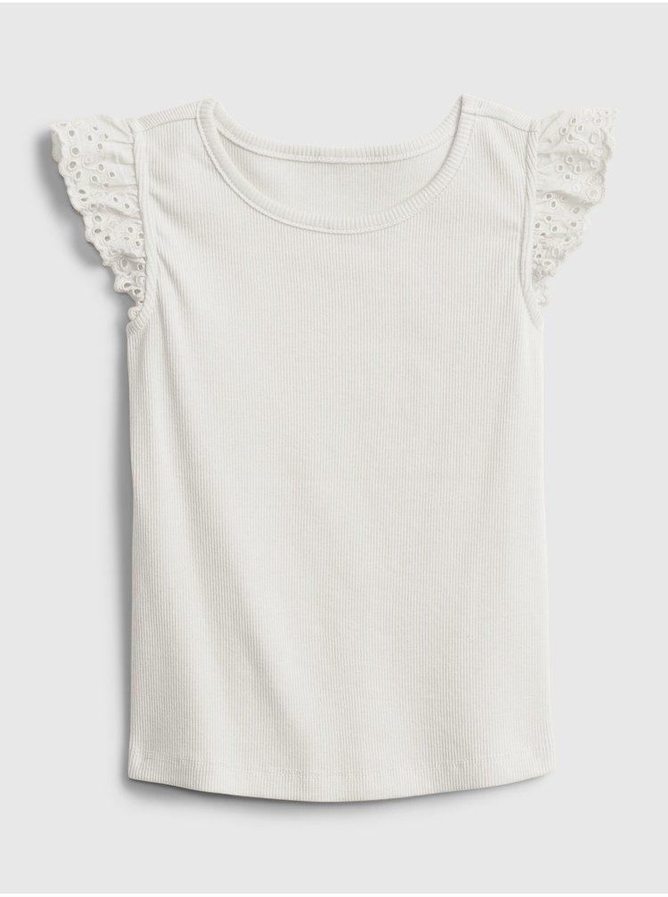 Bílé holčičí dětské tričko fltr rib k2w