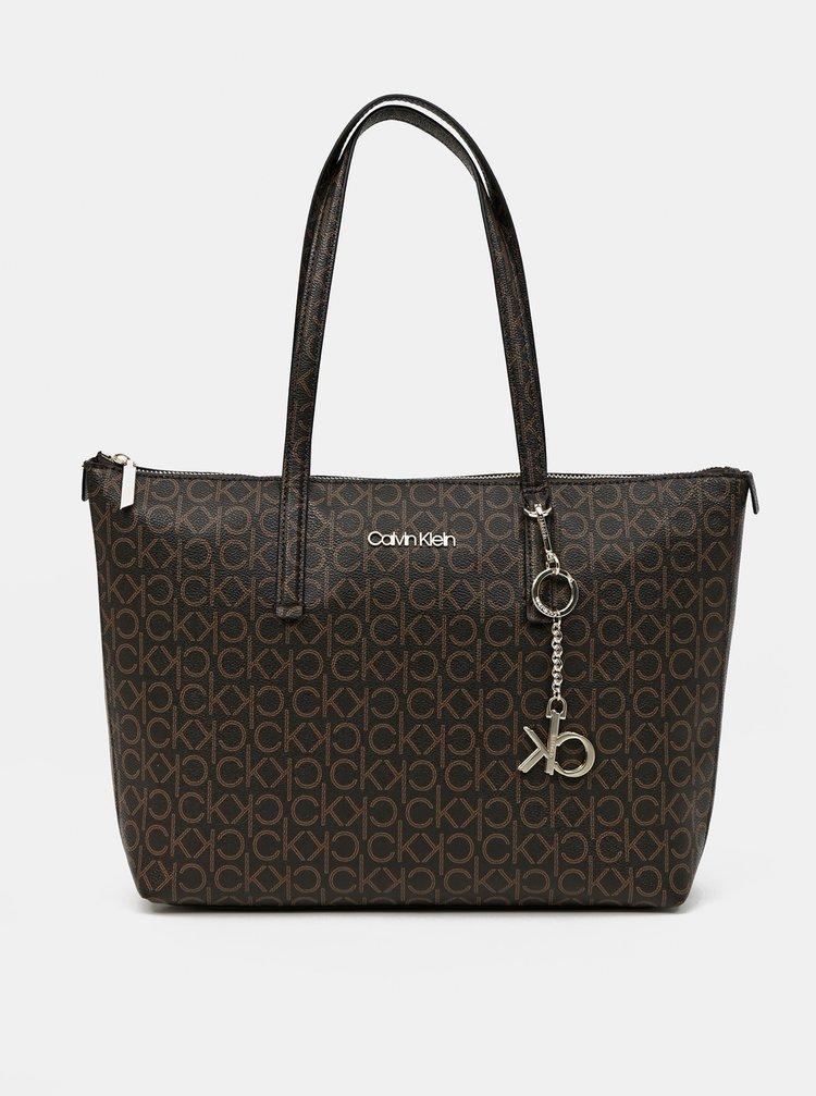 Calvin Klein hnědá kabelka Shopper MD Monogram