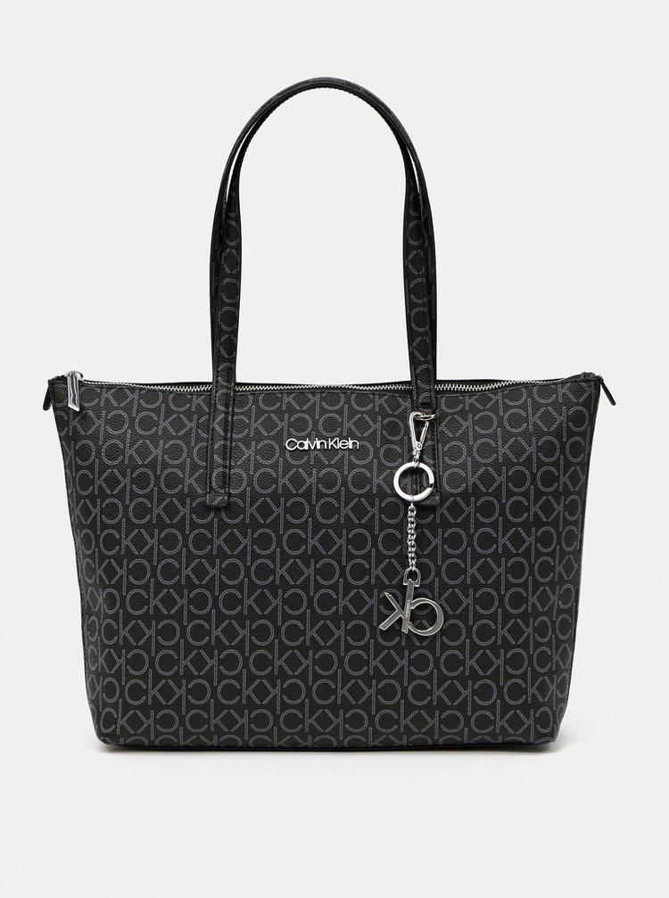 Calvin Klein černá kabelka Shopper MD Monogram