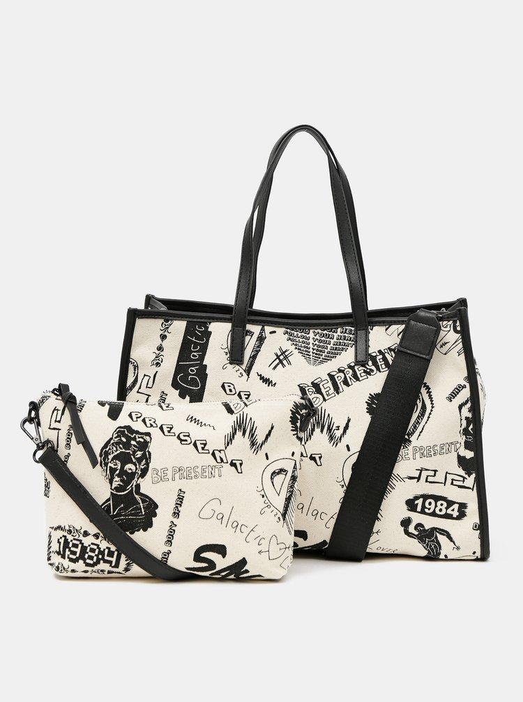 Krémová vzorovaná taška Desigual