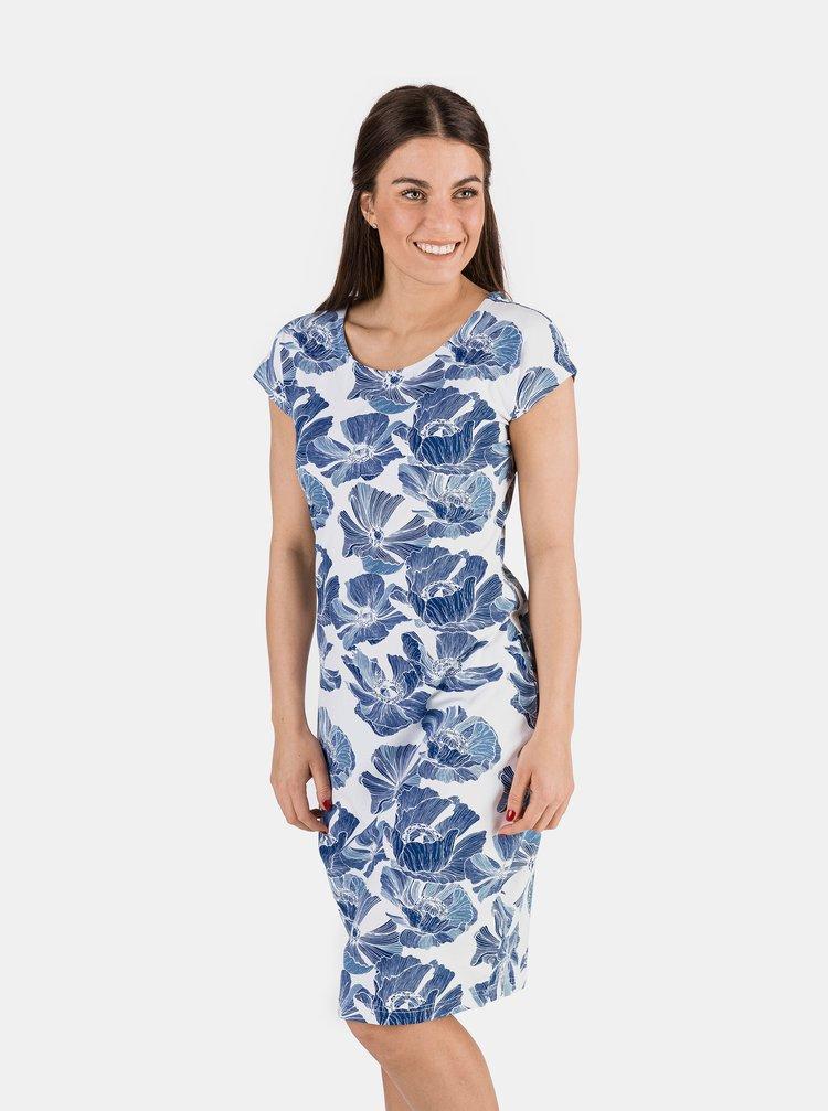 Modré dámské květované šaty SAM 73