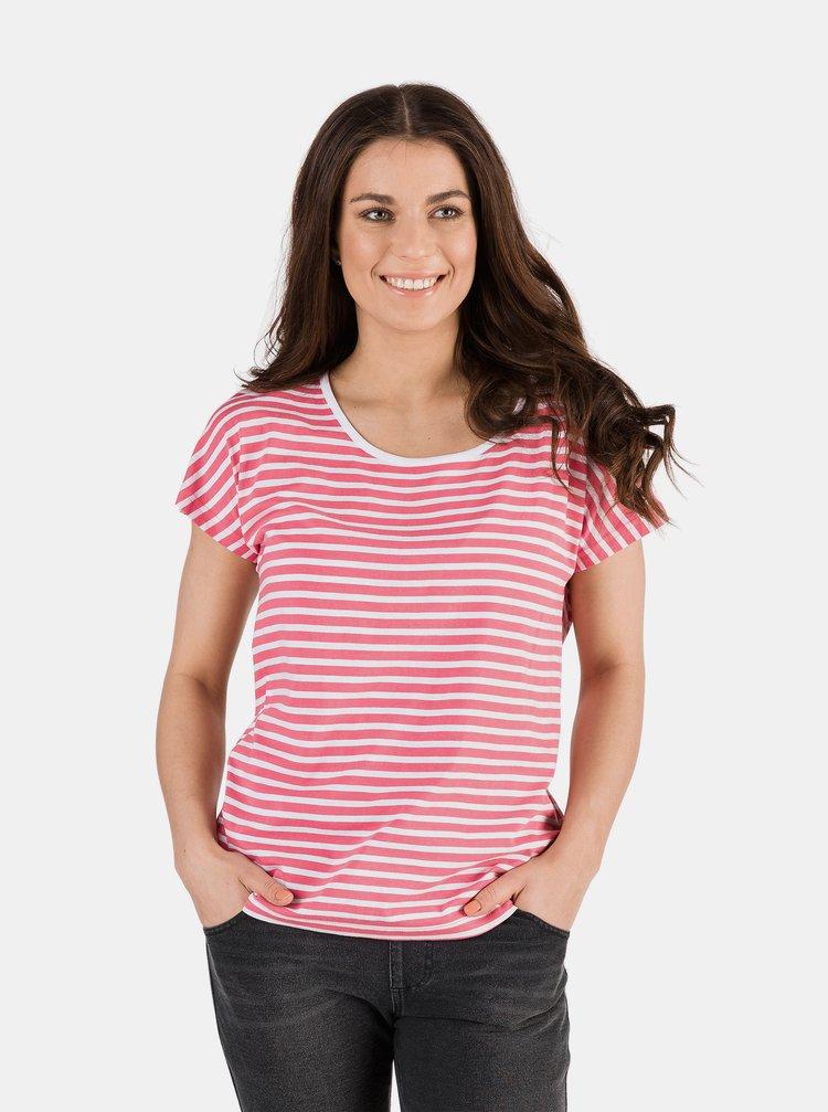 Růžové dámské pruhované tričko SAM 73
