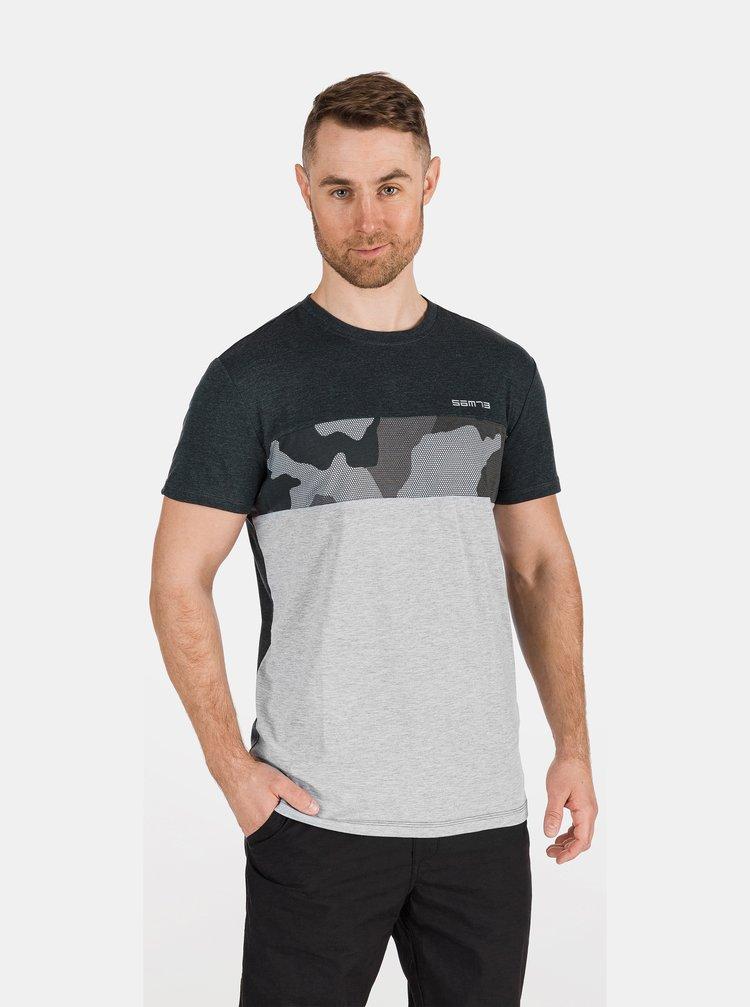 Šedo-černé pánské tričko se vzorem SAM 73