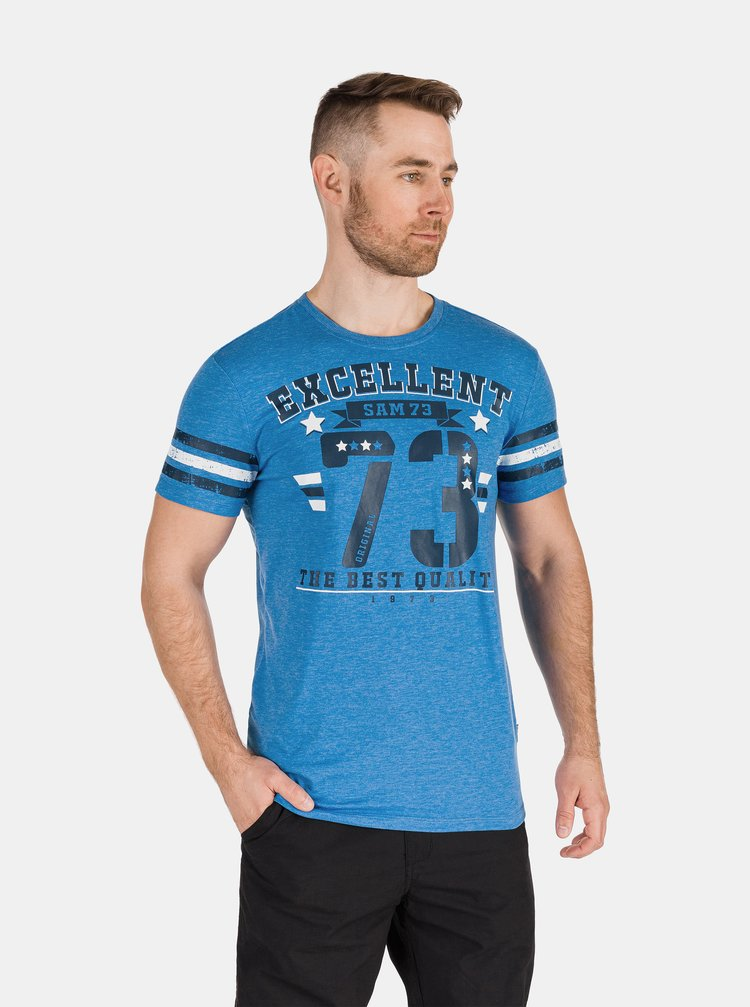 Modré pánské tričko s potiskem SAM 73