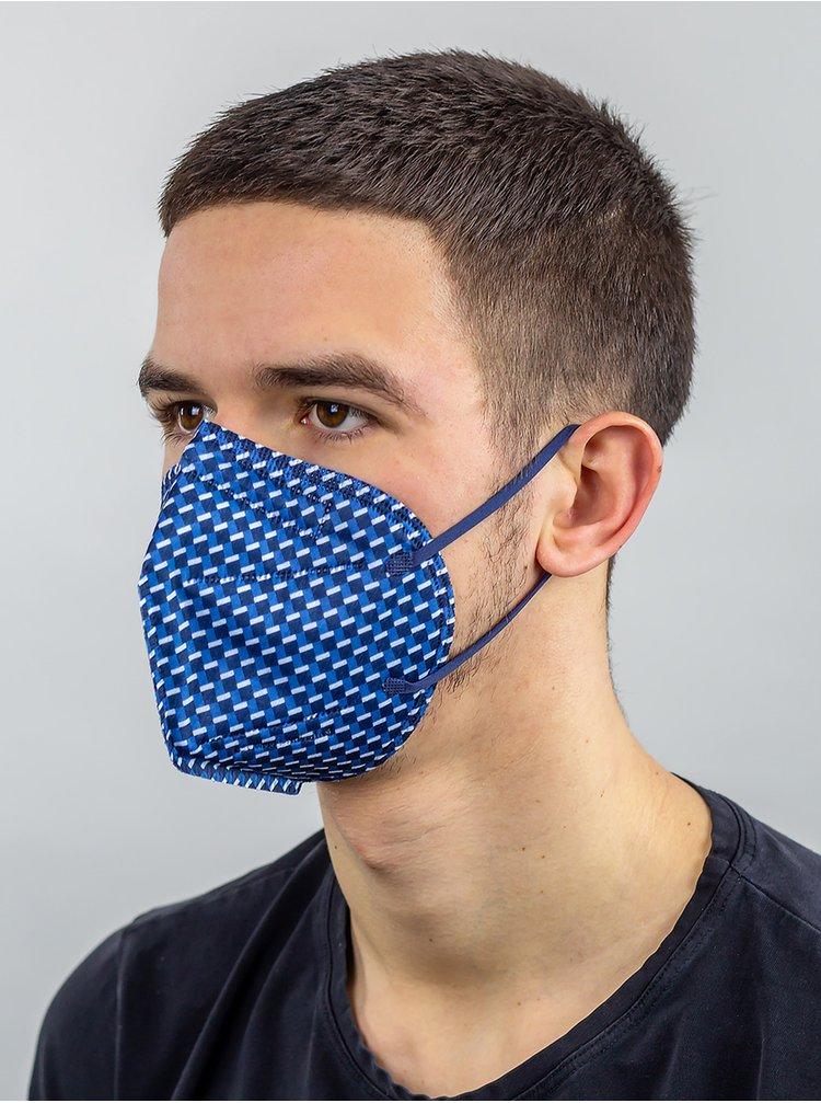 Modrý vzorovaný respirátor FFP2 s nanomembránou Respirátory