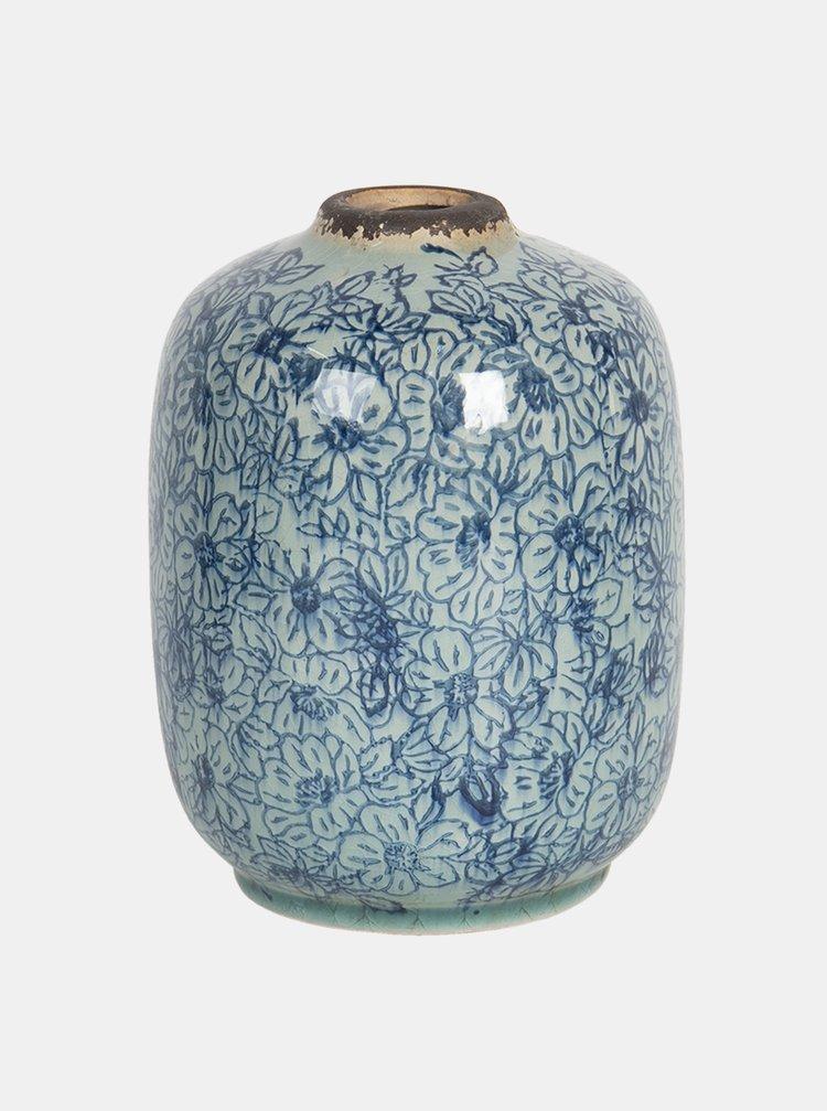 Modrá květovaná váza Clayre & Eef