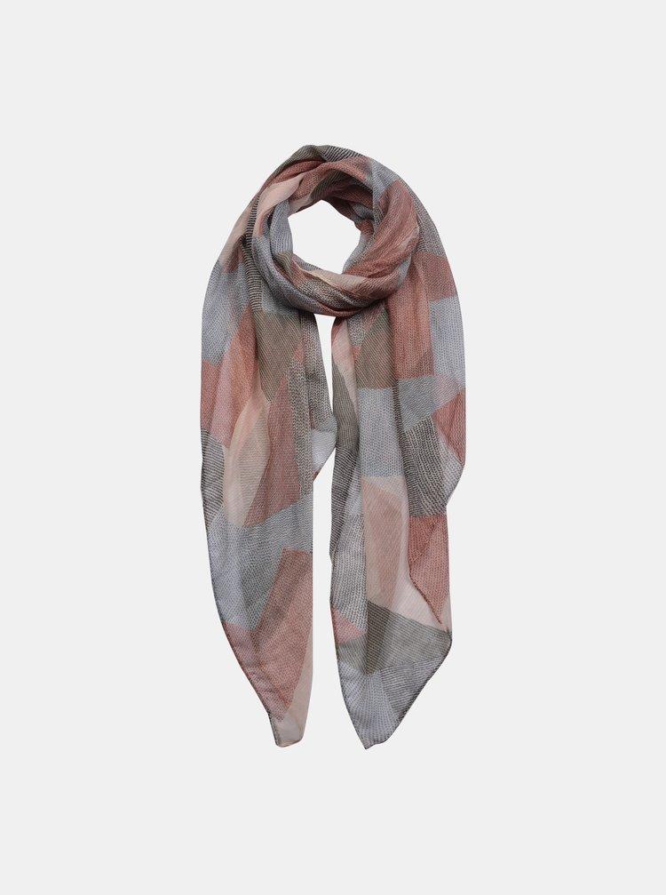 Růžovo-šedý šátek Clayre & Eef