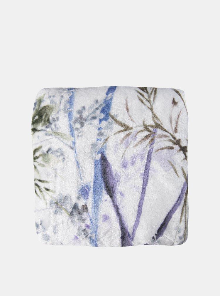 Bílý květovaný pléd Clayre & Eef